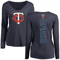 Women's Michael Pineda Minnesota Twins Backer Slim Fit Long Sleeve T-Shirt - Navy
