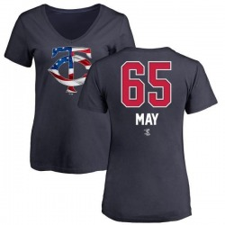 Women's Trevor May Minnesota Twins Name and Number Banner Wave V-Neck T-Shirt - Navy
